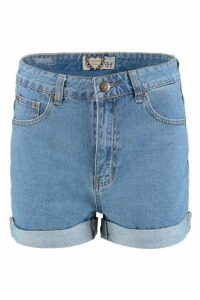 Womens High Rise Denim Mom Shorts - Blue - 16, Blue