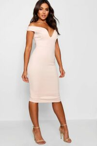 Womens Sweetheart Off Shoulder Bodycon Midi Dress - Pink - 6, Pink
