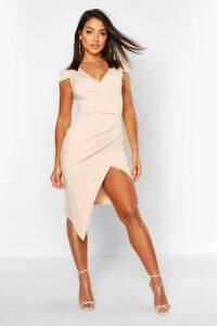 Womens Cap Sleeve Wrap Midi Dress - Beige - 16, Beige