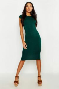 Womens Cap Sleeve Jersey Bodycon Midi Dress - Green - 10, Green