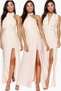 Womens Multiway Split Leg Maxi Bridesmaid Dress - Pink - 14, Pink