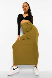 Womens Basic Jersey Maxi Skirt - green - 6, Green