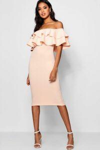 Womens Bardot Layered Frill Detail Midi Dress - Pink - 10, Pink