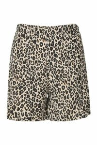 Womens Leopard Print Flippy Short - brown - 8, Brown