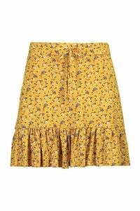 Womens Ditsy Floral Jersey Tiered Skirt - Yellow - 16, Yellow