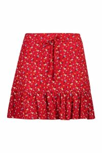 Womens Ditsy Floral Jersey Tiered Skirt - 14, Red