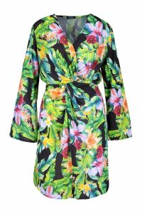 Womens Tropical Print Twist Front Mini Dress - black - 10, Black