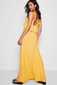 Womens Tie Back Maxi Dress - Yellow - 12, Yellow