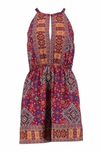 Womens Printed Keyhole Sun Dress - Multi - 16, Multi