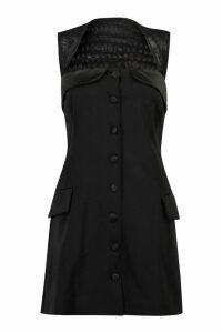 Womens Black Button Detail Blazer Dress - M, Black