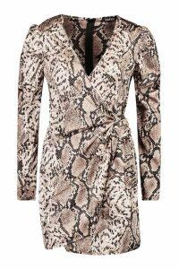 Womens Snake Print Puff Sleeve Wrap Dress - brown - 12, Brown