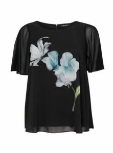 Black Floral Overlay Top, Black