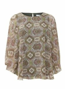Neutral Paisley Print Blouse, Others