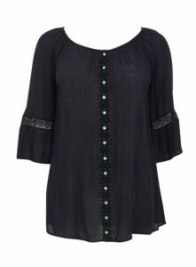 Navy Blue Lace Detail Gypsy Top, Navy