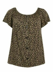Khaki Floral Print Button Detail Gypsy Top, Khaki