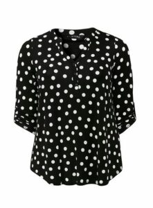 Black Polka Dot 3/4 Sleeve Shirt, Black/White
