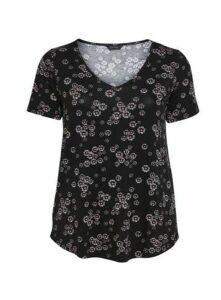 Black Floral Print Top, Black
