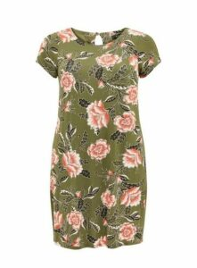 Khaki Floral Print Shift Dress, Khaki