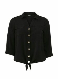 Black Tie Front Shirt, Black