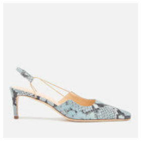 by FAR Women's Gabriella Snake Print Leather Sling Back Court Shoes - Light Blue