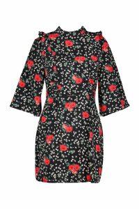 Womens Woven High Neck Floral Ruffle Front Shift Dress - black - 14, Black