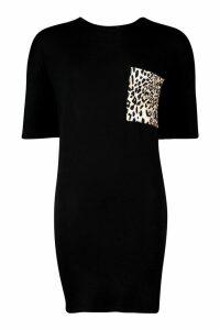 Womens Leopard Pocket T-Shirt Dress - black - 8, Black