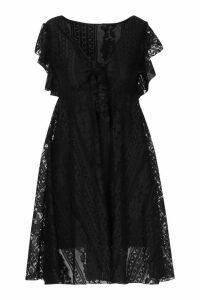 Womens Tie Front Skater Dress - black - M, Black