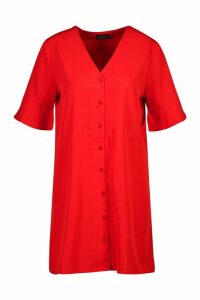Womens Woven V Neck Button Through Ruffle Shift Dress - Red - 16, Red