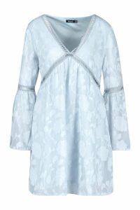 Womens Burnout Floral Trim Smock Dress - Grey - 8, Grey