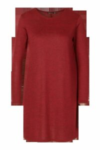 Womens Knitted Swing Dress - red - 8, Red