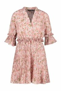 Womens Floral Print Pleated Frill Smock Dress - Pink - 16, Pink