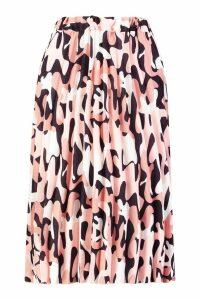 Womens Abstract Leopard Print Pleated Midi Skirt - black - 8, Black