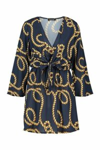 Womens Rope Print Knot Front Dress - navy - 10, Navy