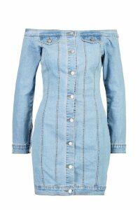 Womens Off The Shoulder Denim Dress - blue - 10, Blue