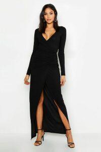 Womens Tall Plunge Ruched Detail Maxi Dress - Black - 16, Black