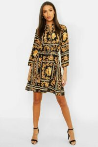 Womens Tall Chain Print Shirt Dress - black - 16, Black