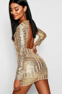 Womens Boutique Sequin Open Back Bodycon Dress - Metallics - 8, Metallics