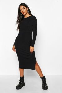 Womens Rib Crew Neck Belted Midi Dress - black - 6, Black