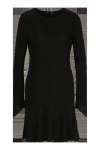 Womens Rib Frill Hem Shift Dress - black - 12, Black
