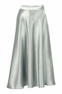 Womens Satin Full Midi Skirt - green - 10, Green