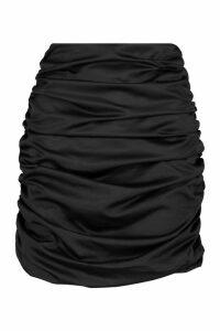 Womens Satin Ruched Mini Skirt - black - 14, Black