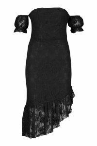 Womens Off The Shoulder Lace Frill Hem Midi Dress - black - 10, Black