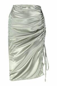 Womens Satin Drawcord Ruched Midi Skirt - green - 16, Green