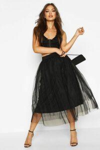 Womens Tulle Longer Length Midi Skirt - Black - 16, Black