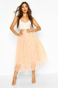Womens Tulle Longer Length Midi Skirt - Beige - 14, Beige