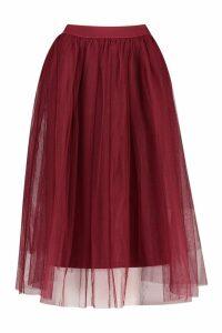 Womens Tulle Longer Length Midi Skirt - Red - 16, Red