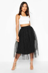 Womens Tulle Longer Length Midi Skirt - Black - 16, Black