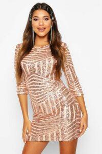 Womens Boutique Sequin Bodycon Dress - metallics - 16, Metallics