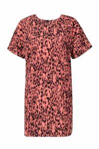Womens Animal Leopard Print Shift Dress - Pink - 8, Pink