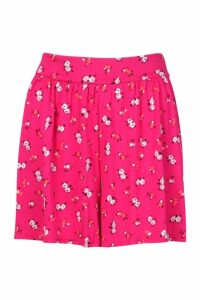 Womens Ditsy Floral Jersey Flippy Shorts - Pink - 16, Pink